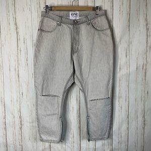 One Teaspoon Denim Jeans Kingpin Slouch Ice Grey